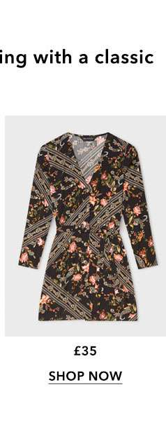 Black Scarf Print Button Front Mini Dress