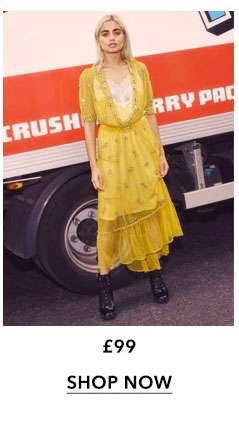 Yellow Embellished Lace Slip Dress