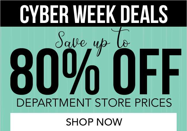 Save up to 80% off department store prices