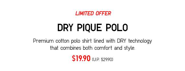 DRY PIQUE POLO | Premium cotton polo shirt lined with DRY technology that combines both comfort and style.