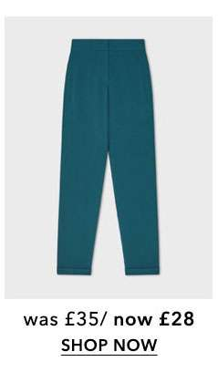 Teal Crepe Cigarette Trousers