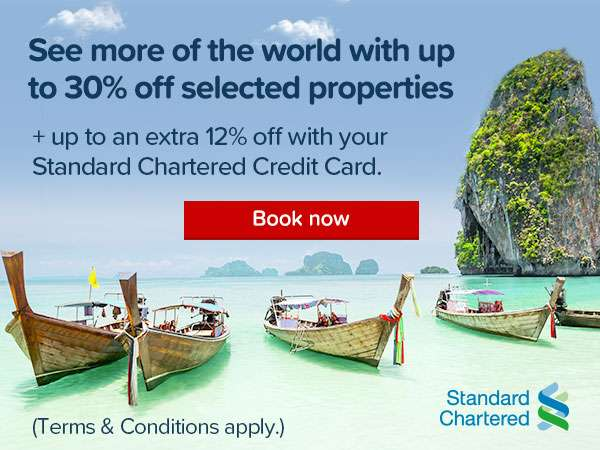 Get up to 12% off all year round with the Standard Chartered credit card!