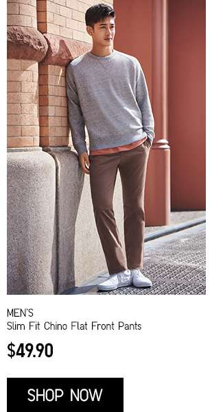 Men's Slim Fit Chino Flat Front Pants