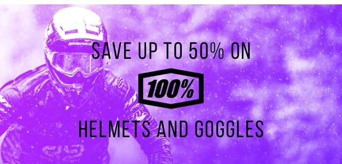 Save up to 50% on 100% Helmets and Goggles