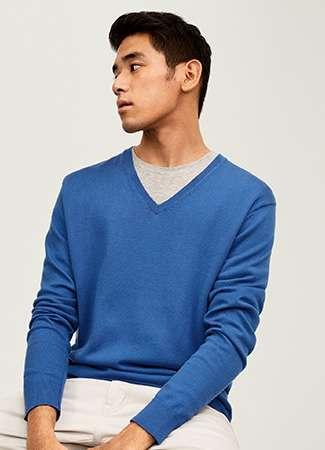 Men's Supima Cotton V Neck Sweater
