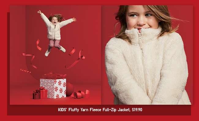 Kids' Fluffy Yarn Fleece Jacket