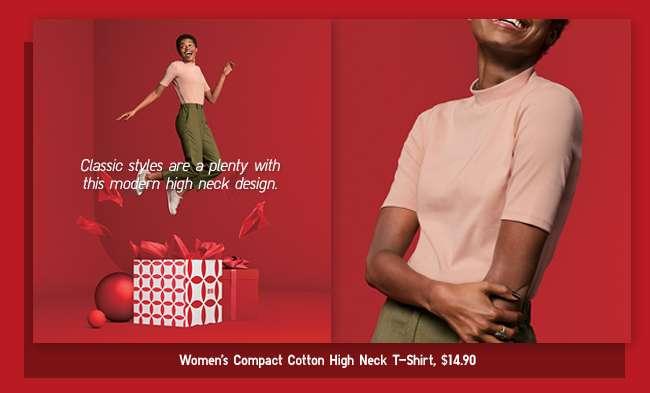 Women's Compact Cotton High Neck T-shirt