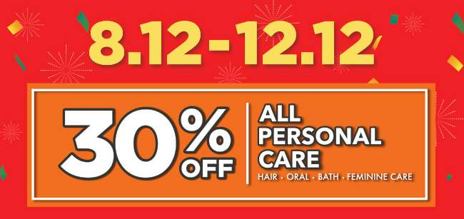 [8.12 - 12.12] 30% off all Personal Care