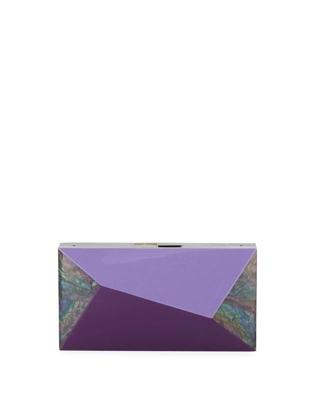 Melissa Rectangular Rainbow Shell Minaudiere Clutch Bag