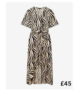 Nude Zebra Print Wrap Midi Dress