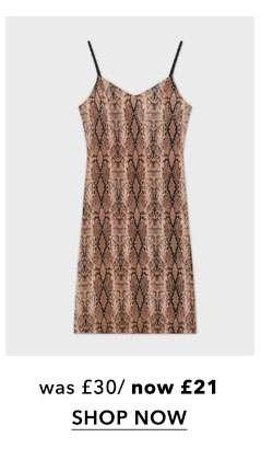 Pale Pink Snake Print Plisse Slip Dress