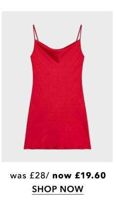 Red Cowl Mini Slip Dress