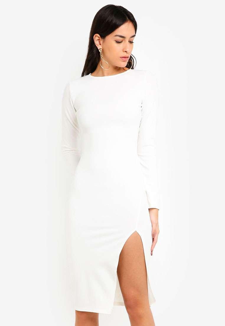 Long Sleeve Slit Midi Dress