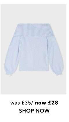 Blue Fluffy Yarn Bardot Knitted Jumper