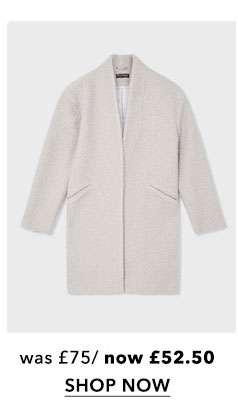 Grey Boucle Cocoon Coat