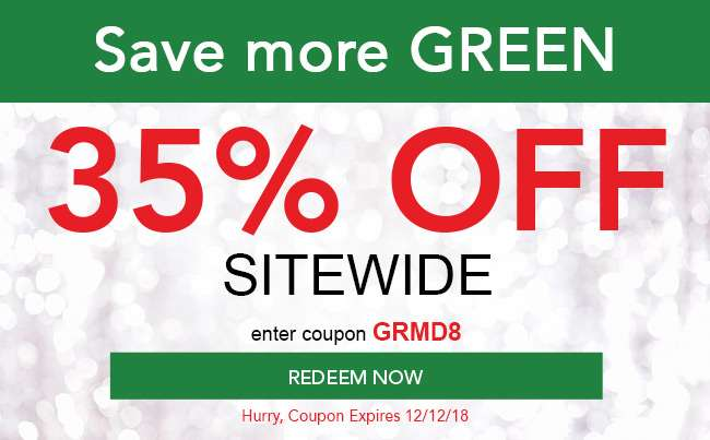 35% off sitewide. Enter code GRMD8 at checkout. Hurry! Coupon expires 12/12/18. Redeem now.