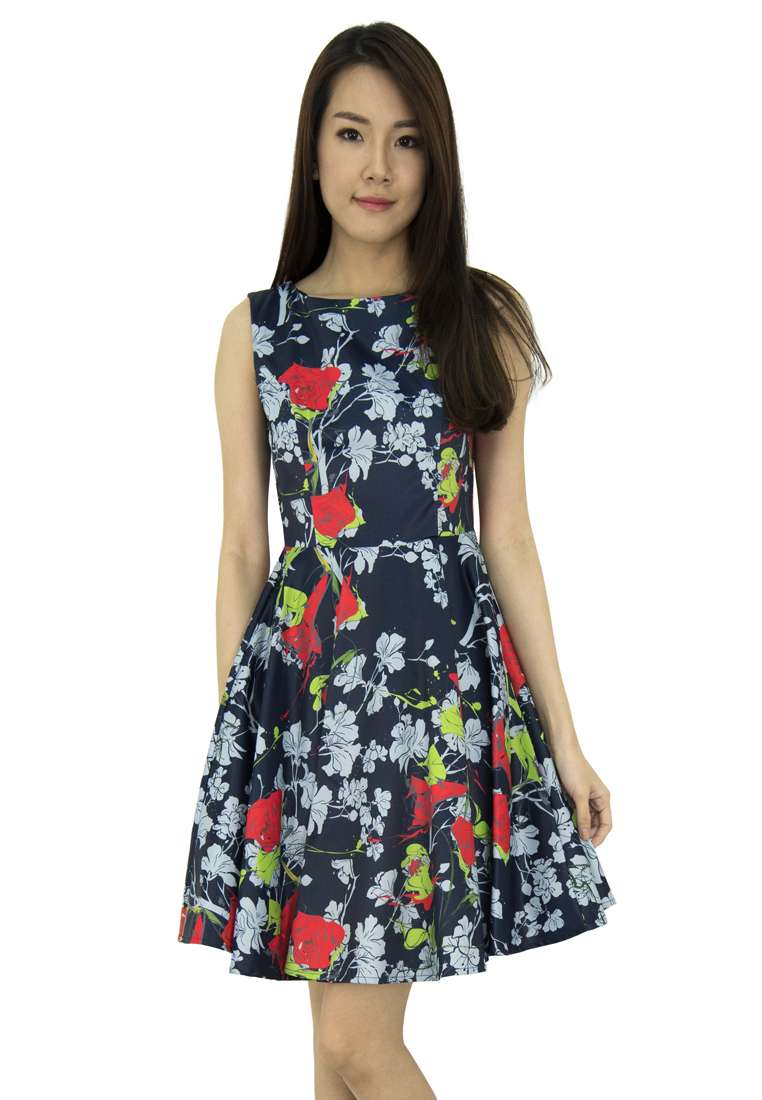 Mini Floral Fit And Flare Dress