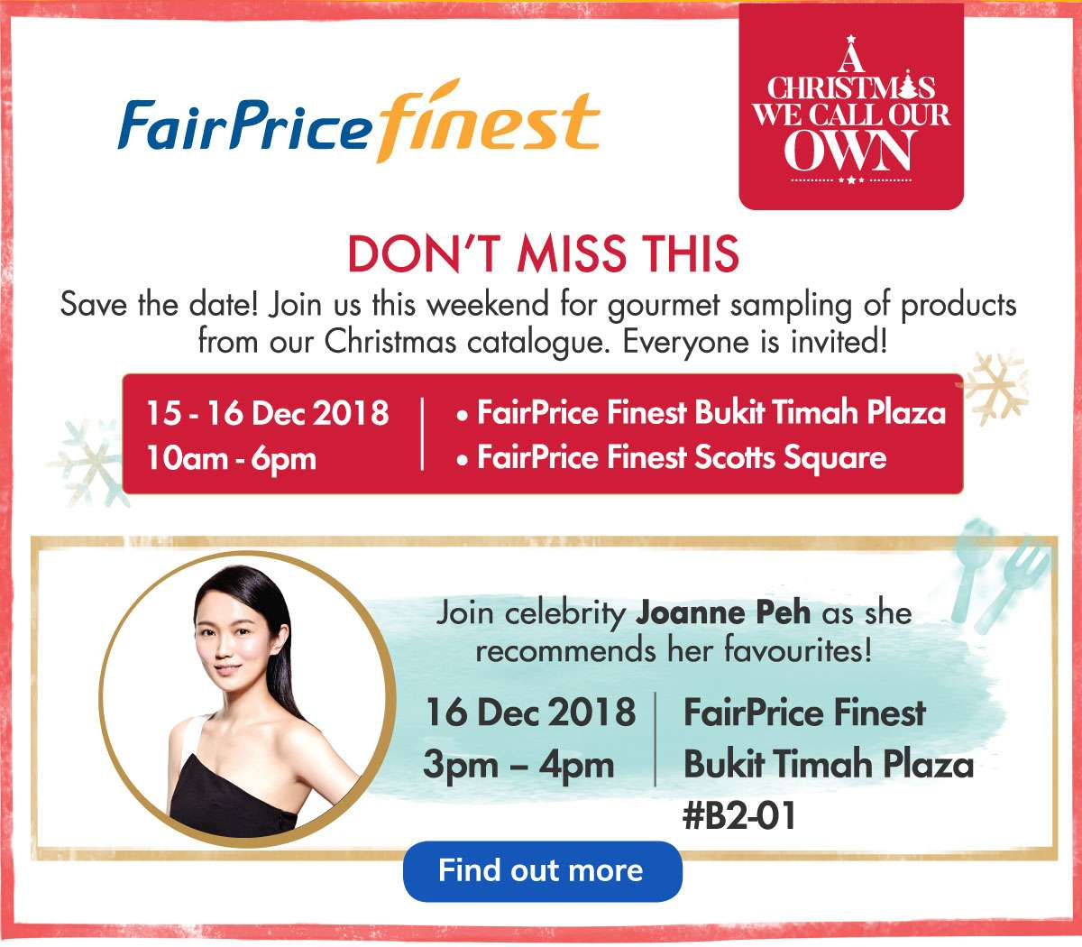 Catch Joanne Peh at FairPrice Finest!