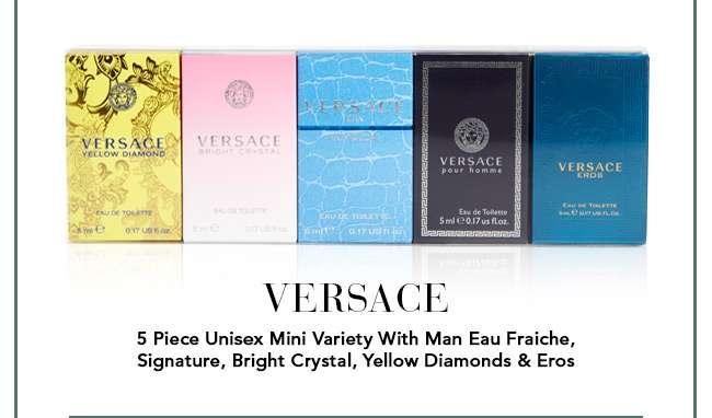 Versace 5 Piece Unisex Mini Variety With Man Eau Fraiche, Signature, Bright Crystal, Yellow Diamonds & Eros