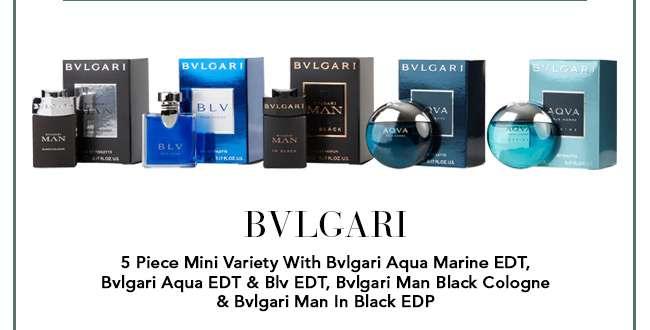 Bvlgari 5 Piece Mini Variety With Bvlgari Aqua Marine EDT, Bvlgari Aqua EDT & Blv EDT, Bvlgari Man Black Cologne & Bvlgari Man In Black EDP