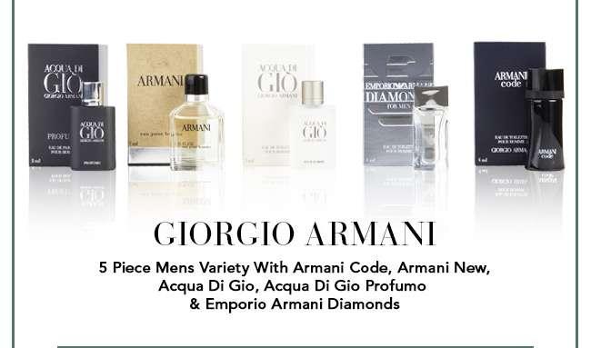Shop Giorgio Armani 5 Piece Mens Variety With Armani Code, Armani New, Acqua Di Gio, Acqua Di Gio Profumo & Emporio Armani Diamonds