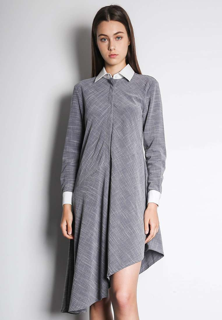 Henrietta Asymmetric Dress in White/Grey