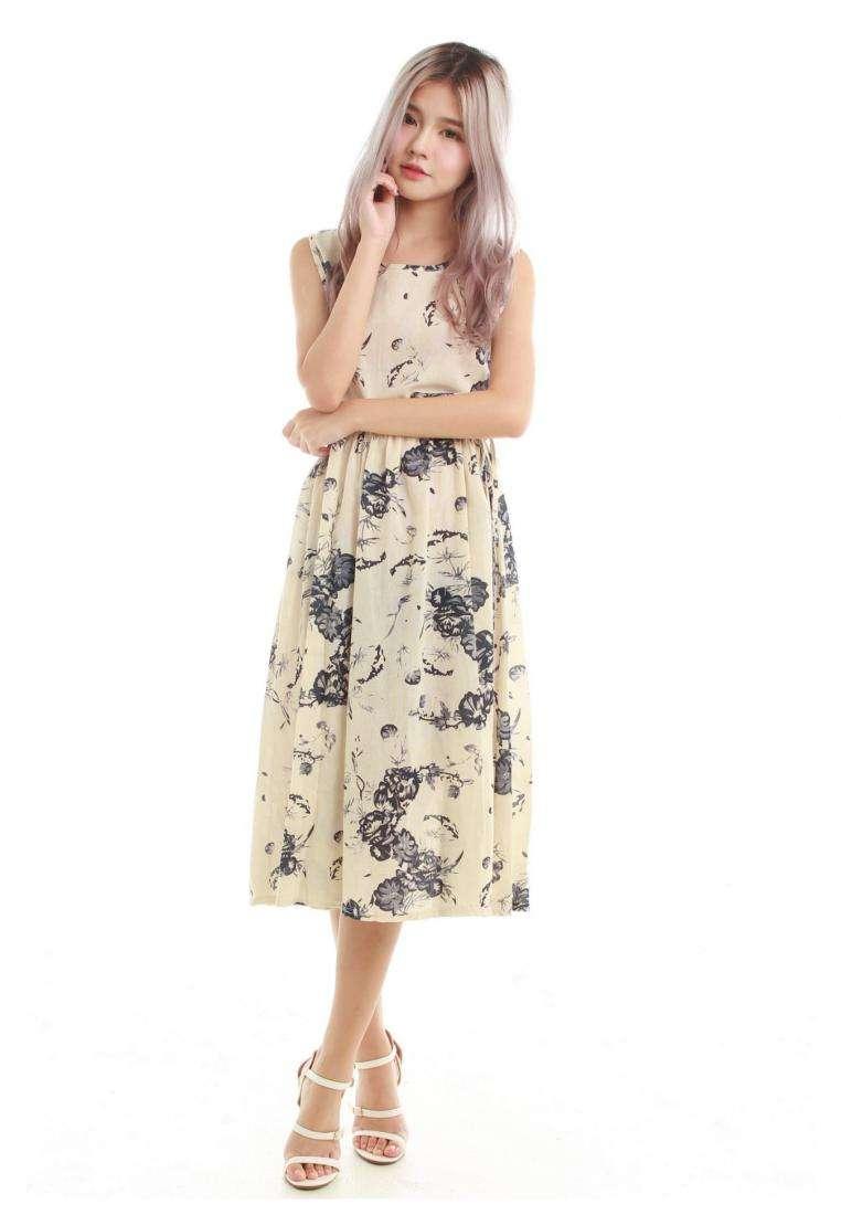 Kimmi Drawstring Midi Dress in Beige