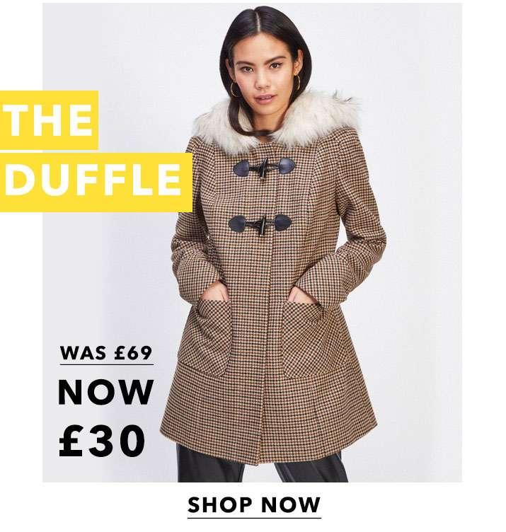 Brown Check Duffle Coat