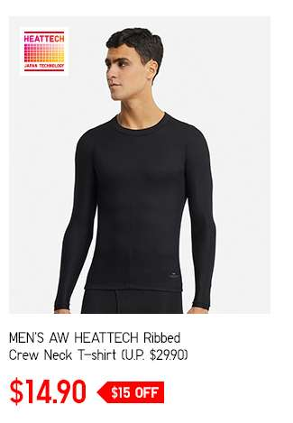 Men's AW HEATTECH Ribbed Crew Neck T-shirt at $14.90