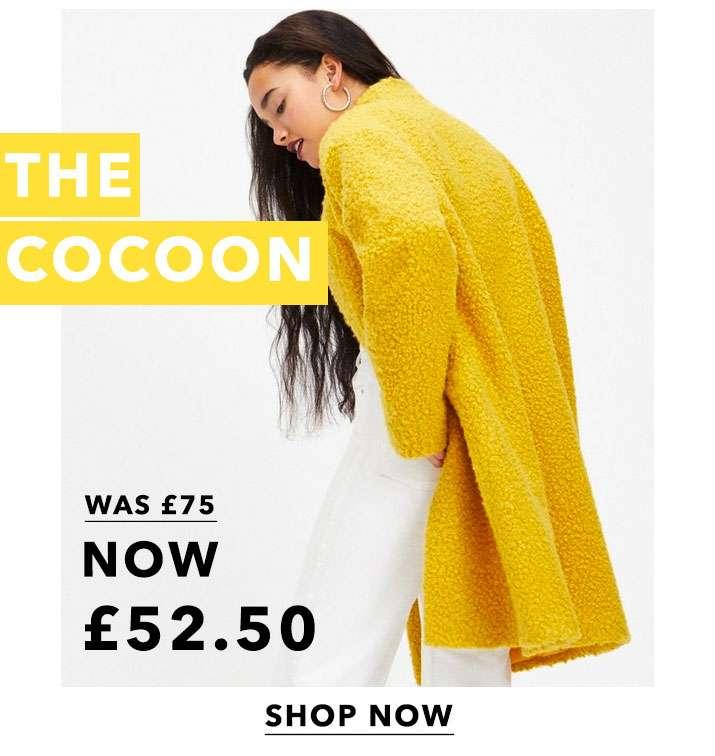 Ochre Boucle Cocoon Coat