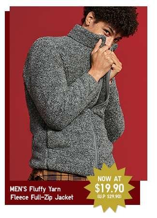 Limited offer! Men's Fluffy Yarn Fleece Full-Zip Jacket at $19.90