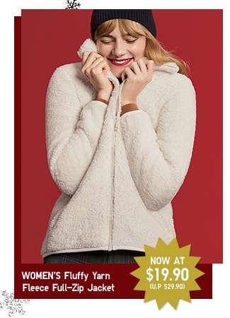 Limited offer! Women's Fluffy Yarn Fleece Full-Zip Jacket at $19.90