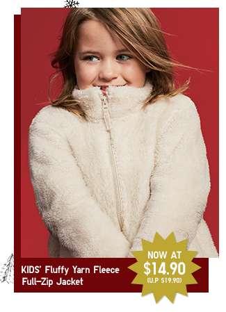 Limited offer! Kids' Fluffy Yarn Fleece Full-Zip Jacket at $14.90
