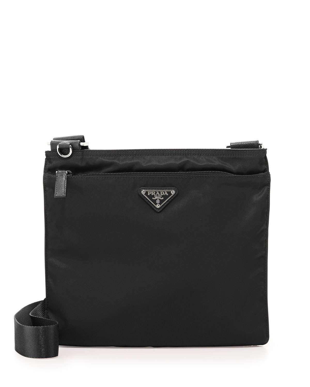 Vela Flat Crossbody Bag, Black (Nero)