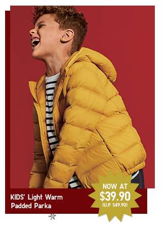 Limited offer! Kids' Light Warm Padded Parka at $39.90