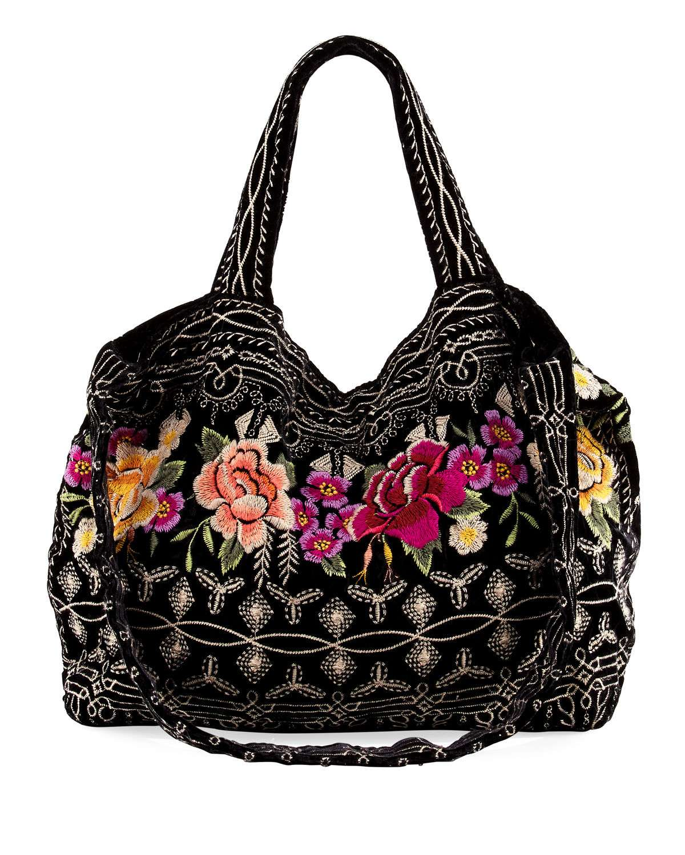 Flores Embroidered Velvet Tote Bag