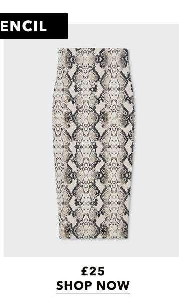 Nude Snake Print Midi Skirt