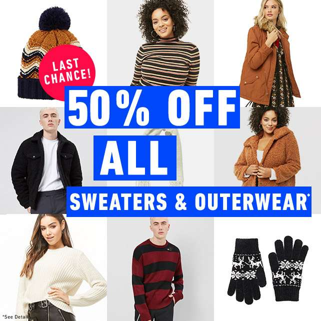 50% Off All Sweaters and Outerwear