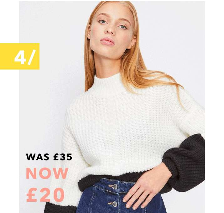 Cream Colour Block Ribbed Knitted Jumper