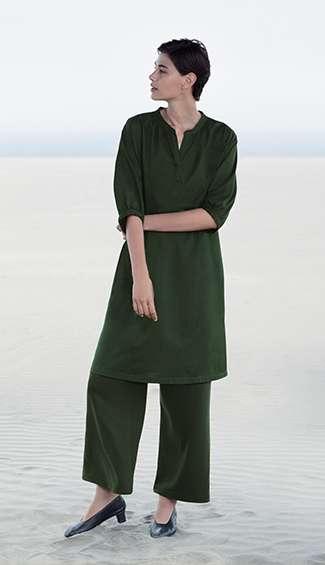 WOMEN's Mercerized Cotton Gather 3/4 Sleeve Dress at $19.90