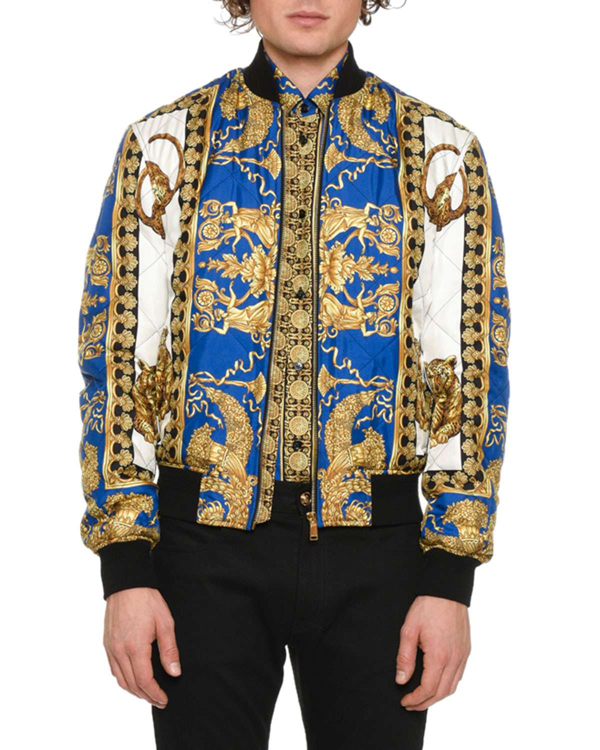 Men's Graphic Quilted Bomber Jacket