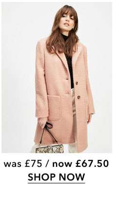 Pink Boucle Pocket Coat