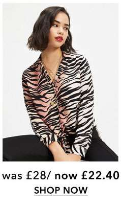 PETITE Orange Tiger Printed Tie Front Shirt