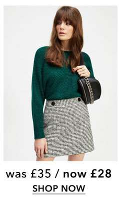 Monochrome Boucle Button Mini Skirt