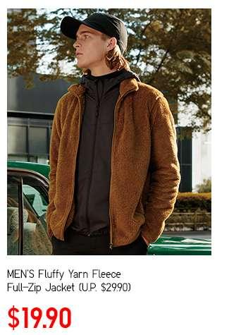 Men's Fluffy Yarn Fleece Full-Zip Jacket at $19.90