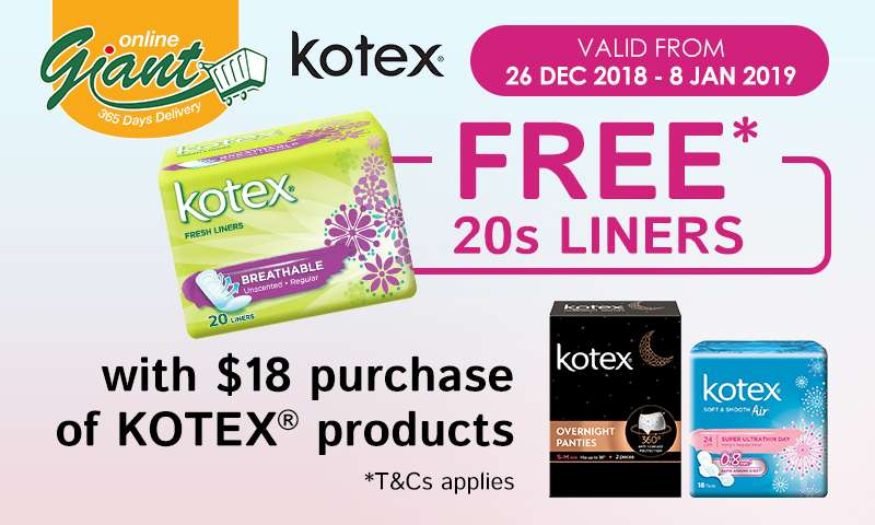 Kotex: FREE 20s Liners with every $18 spent! While Stocks Last.