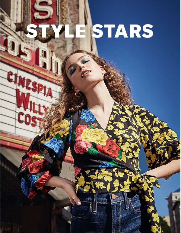 Style Stars - New York label alice + olivia presents… a '70s-inspired lineup of wrap dresses, bell-bottoms, and vibrant printed blouses.