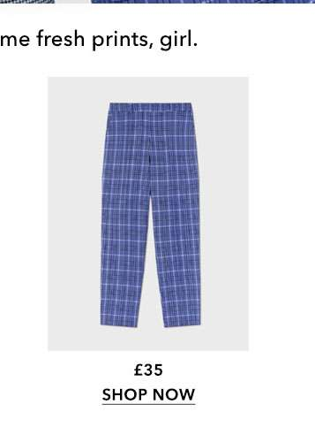 Blue Check High Waisted Cigarette Trousers