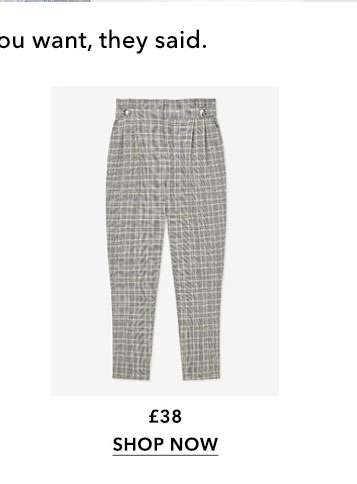 Grey Check Button Tab Paperbag Trousers