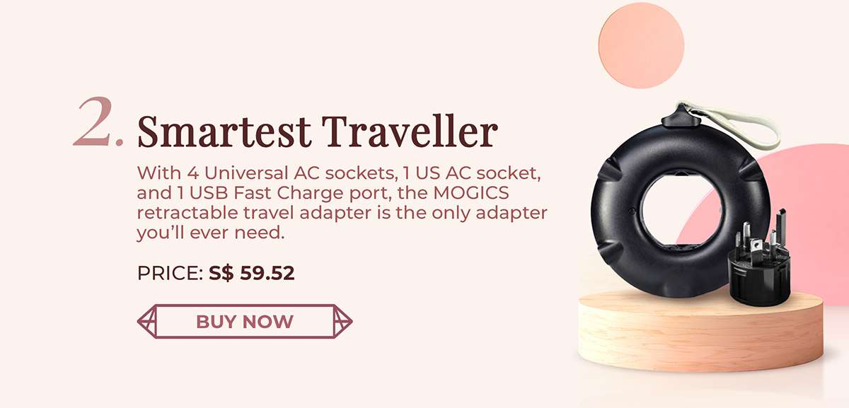 MOGICS retractable travel adapter is the only adapter you?ll ever need